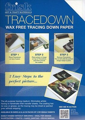 Frisk Tracedown Paper - A4 - WHITE - Pack of 5 sheets