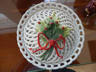 Vintage Holly Berry Capodimonte White Weave Basket & Lid for Christmas! Italy