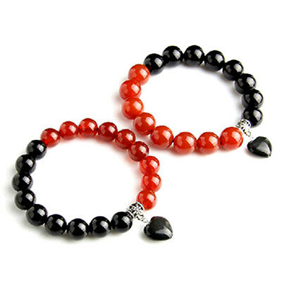 Two Feng Shui handmade natural Red and Black Agate beads bracelets for love