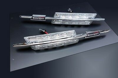 BMW E39 M 5-Series M5 LED Clear Chrome Side Indicator Repeater Signal Light Lamp