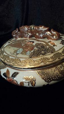 Magnificent Antique Japanese Satsuma Covered Bowl