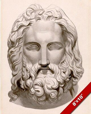 Antique Bearded Head Carved Stone Greek Roman Bust Painting Art Canvas Print