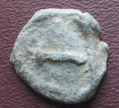 Authentic Ancient Artifact   Lead Roman Seal with Pick Axe  12745
