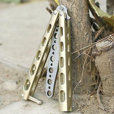 Quality Metal Steel Dull BALISONG Butterfly Trainer Practice Knife Training Tool