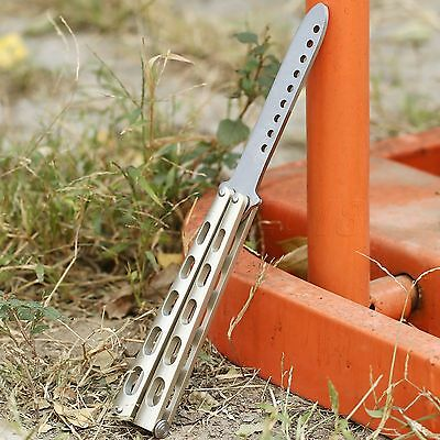 Practice Balisong Butterfly Metal Training Blades Trainer Sports Dull Knife Tool