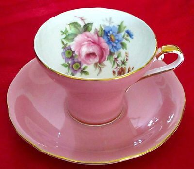 Aynsley Fancy Corset Pink Bone China Big Rose Tea Cup And Saucer 1930s