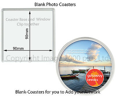 Blank Photo Coasters (Packs 1, 5, 10) (Large Square Round) 100mm, 90mm insert