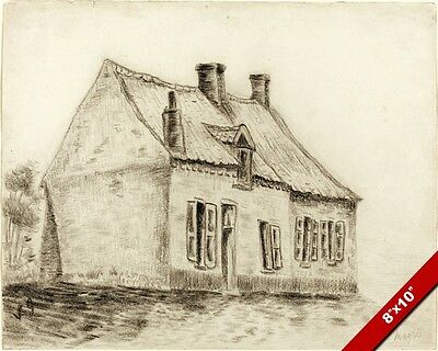 The Magrot House By Vincent Van Gogh Charcoal Painting Art Real Canvas Print
