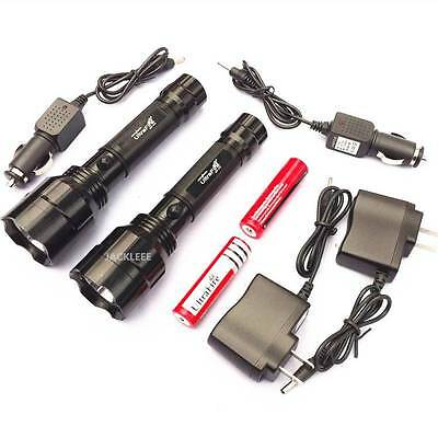 1 Pair 500 METER 1200 LUMEN TACTICAL CREE LED RECHARGABLE FLASHLIGHT TORCH LAMP