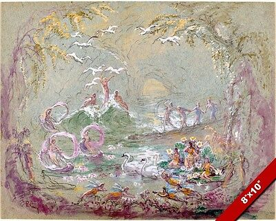 Faries & Swans Fairy Fantasy Grove Watercolor Painting Art Real Canvas Print