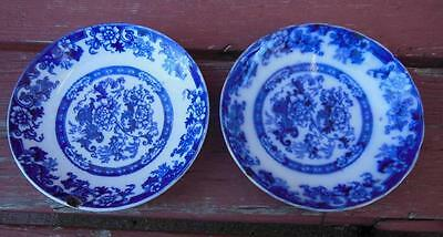 "SET 2 ANTIQUE ROYAL CAULDON FLOW BLUE COBALT FLORAL DESSERT PIE 6"" BOWLS ENGLAND"
