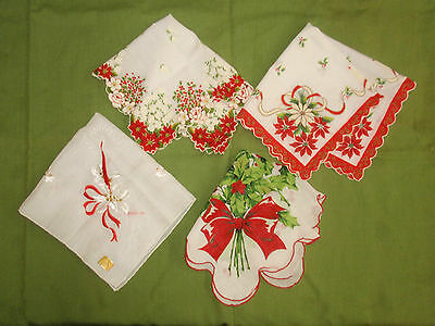 J618) 4 Vintage Christmas Handkerchiefs 1 NWT, Bright Colors, Holly, Candle, +