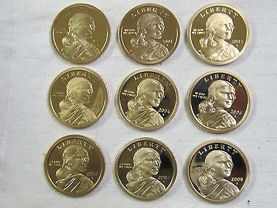2000-2008 S Sacagawea Native American Dollar Set - Gem Proof Deep Cameo - (9)