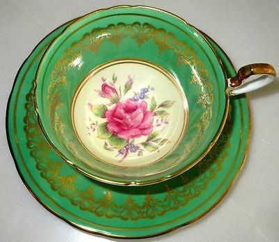 Aynsley Fancy Green & Large Rose Bone China Tea Cup & Saucer 1940s