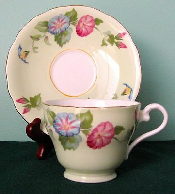 Aynsley Fine Bone China Cabinet Cup And Saucer in Green& Morning Glories