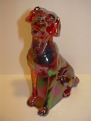 MOSSER GLASS RUBY RED CARNIVAL LABRADOR LAB DOG FIGURINE PAPERWEIGHT