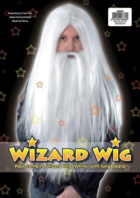 Fancy Dress White Wizard Wig and Beard Set Gandalf Dumbledore Fairytale Old Man