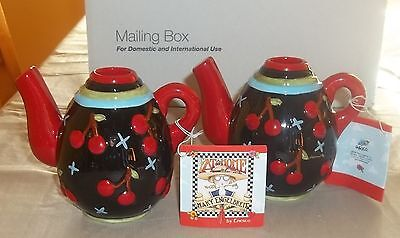 VTG NWT 1998 2~ENESCO MARY ENGELBREIT CHERRY TEAPOT CANDLE HOLDERS RETIRED