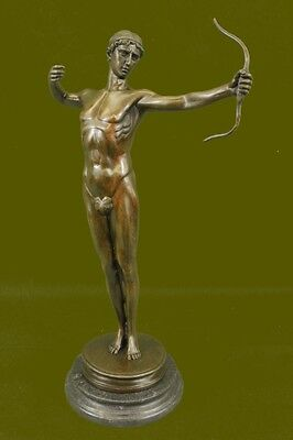 "Signed Bronze Statue ""Hercules the Archer"" Greek Myth Hercules w/bow Sculpture"