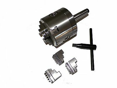 """Z LIVE CENTER 3"""" 3 Jaw Precision Lathe Chuck with MT2  Shank (Non-Rotating)"""