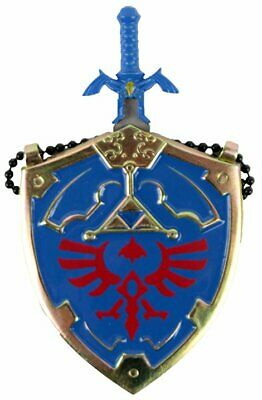 Mini Hylian Shield & Links Master Sword Legend of Zelda Necklace (Blue) 25""