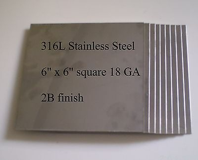 """HHO 6""""x6"""" 18ga 316L Stainless Steel Plates Qty = 10"""