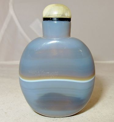 """2.4"""" Beautiful Chinese Striped Gray Blue Agate Snuff Bottle """" Rings of Saturn """""""