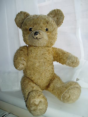 """Old straw-filled gold 19""""  bear with squeaker (probably 1950's)"""