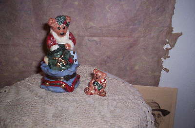 BOYDS  BEARS PORCELAIN TRINKET BOX -GRENVILLE SANTA'S HELPER--MIB-LE BEARMOGE