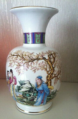 Carraresi Chinese design Porcelain Vase from Italy Hand Painted And Signed