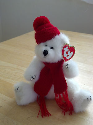 Stocking Stuffer! Ty Bear - Peppermint - Holiday- Christmas - Jointed- all tags