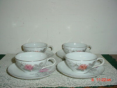"""8 PIECE """"ROSE BOUQUET"""" COFFEE CUP & SAUCERS/FINE CHINA/JAPAN/WHITE-PINK-SILVER"""