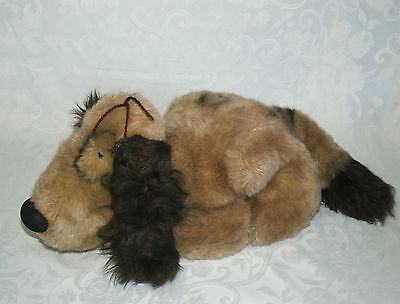 "Brown Dog Ring Around Eye Dark Ears Big Nose Laying 18"" Puppy Plush Graphics Vtg"