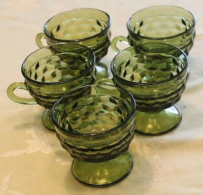 Lot of 5 Colony Indiana WHITEHALL Avocado Green Footed Punch Snack Cups