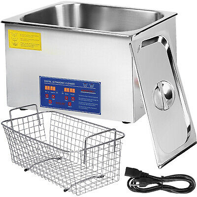 New Stainless Steel 22L Liter Industry Heated Ultrasonic Cleaner Heater Timer