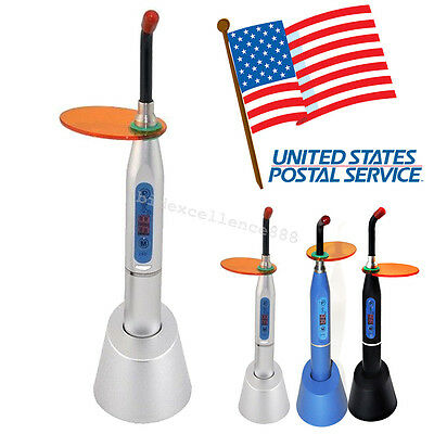 *USA* Dentist Dental Wireless LED Curing Light Lamp 1500mw 10W Silver Black Blue
