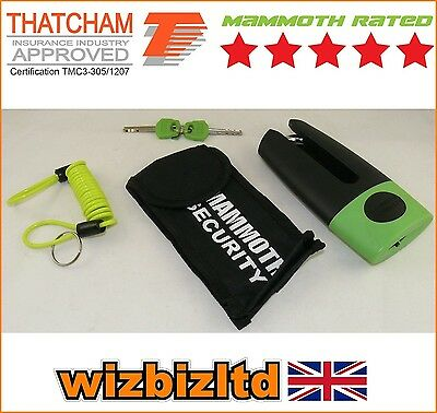 Motorcycle Mammoth Thatcham Approved 11mm hardened Shackle Disc Lock LODM002