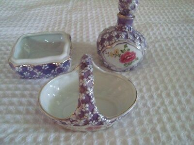 KPM Perfume Bottle with matching Trinket Dish and Handled Trinket Basket