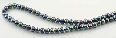"16"" Strand 5-6mm Freshwater Pearls Potato Side Drill ""Green-blue""  Peacock  2pcs"
