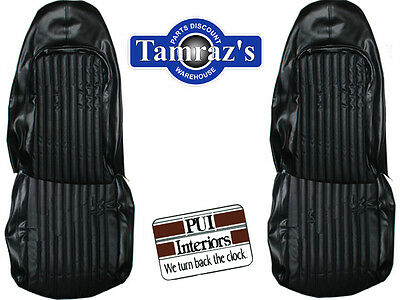 1972 Barracuda Cuda Challenger Front Seat Upholstery Covers Black PUI New