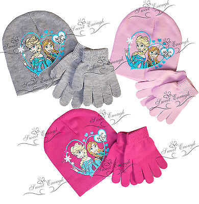 Disney Frozen Hat and Gloves Set knitted winter warm Christmas girls Official