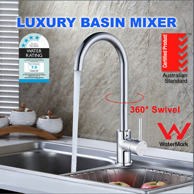 Kitchen Laundry Basin Sink Mixer Tap Faucet Spout Swivel watermark WELS Taps