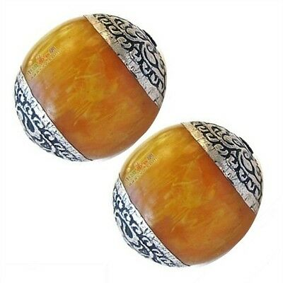 Pair Comparatively Big Beeswax Amber 925 Sterling Silver Repousse Amulet Beads