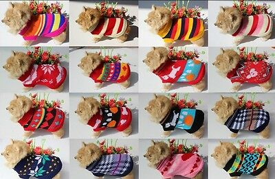 Small Dog Cat Pet Puppy Clothes Knitted Jumper Sweater Coat Classic Argyle C7