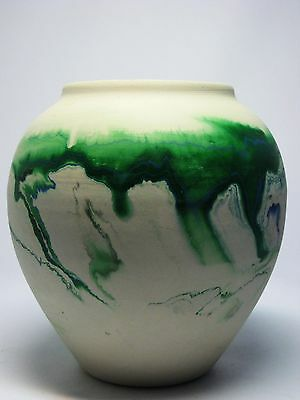 VTG NEMADJI POTTERY VASE ABSTRACT GREEN BLUE SWIRL DESIGNS EARLY INDIAN STAMP
