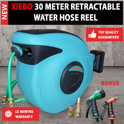 Top Quality XIEBO 30 Meter Retractable Water Hose Reel, Bonus Brass Fittings