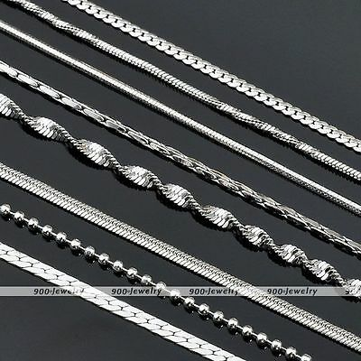 Silvery Mirror Flat Lock Line Link Curb/Box/Snake/Water Wave/Ball Chain Necklace