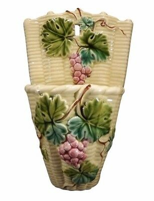 French Antique Salins 19th. Majolica Basket Wall Pocket of Bunch of Grapes