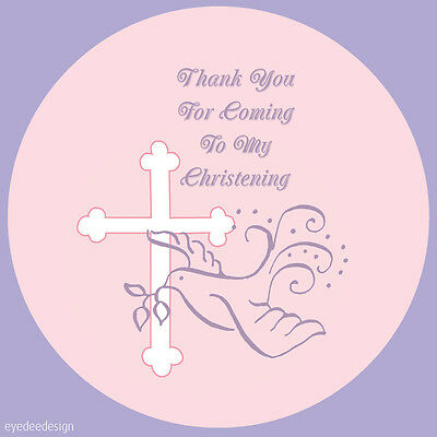 35x NON Personalised Christening Party Thank You Envelope Seals Stickers -N384