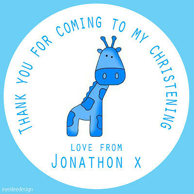 35x Personalised Christening Giraffe Party Thank You Envelope Stickers -N385
